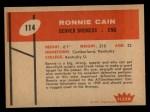 1960 Fleer #114  Ronnie Cain  Back Thumbnail