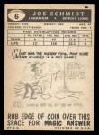 1959 Topps #6  Joe Schmidt  Back Thumbnail