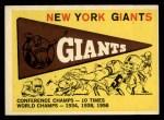 1959 Topps #53   Giants Team Checklist Front Thumbnail
