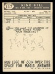 1959 Topps #117  King Hill  Back Thumbnail