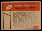 1960 Fleer #131  Eddie Erdelatz  Back Thumbnail