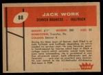1960 Fleer #88  Jack Work  Back Thumbnail