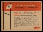 1960 Fleer #85  Tom Rychlec  Back Thumbnail