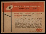 1960 Fleer #87  Jerry Cornelison  Back Thumbnail