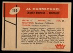 1960 Fleer #110  Al Carmichael  Back Thumbnail