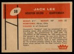 1960 Fleer #38  Jacky Lee  Back Thumbnail