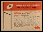1960 Fleer #91  Teddy Edmondson  Back Thumbnail