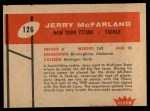 1960 Fleer #126  Jerry McFarland  Back Thumbnail