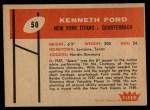 1960 Fleer #50  Kenneth Ford  Back Thumbnail