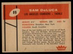 1960 Fleer #89  Sam DeLuca  Back Thumbnail