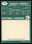 1960 Topps #72  Charley Conerly  Back Thumbnail