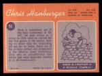 1970 Topps #93  Chris Hanburger  Back Thumbnail