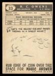 1959 Topps #33  R.C. Owens  Back Thumbnail