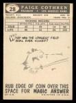 1959 Topps #28  Paige Cothren  Back Thumbnail