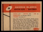 1960 Fleer #58  George Blanda  Back Thumbnail