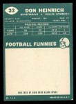 1960 Topps #32  Don Heinrich  Back Thumbnail