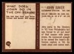 1967 Philadelphia #147  John Baker  Back Thumbnail