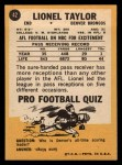 1967 Topps #42  Lionel Taylor  Back Thumbnail