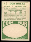 1968 Topps #6  Don Hultz  Back Thumbnail