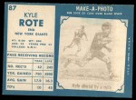 1961 Topps #87  Kyle Rote  Back Thumbnail