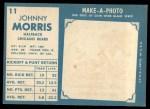 1961 Topps #11  Johnny Morris  Back Thumbnail