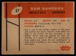 1960 Fleer #57  Sam Sanders  Back Thumbnail