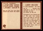 1967 Philadelphia #167  Larry Wilson  Back Thumbnail
