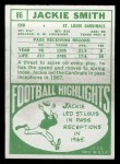1968 Topps #86  Jackie Smith  Back Thumbnail