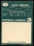 1960 Topps #2  Alan Ameche  Back Thumbnail