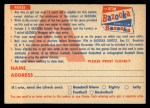 1956 Topps   Contest Card Nov 25 - Bears vs. Giants Back Thumbnail