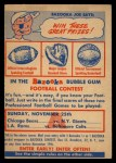 1956 Topps   Contest Card Nov 25 - Bears vs. Giants Front Thumbnail