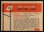 1960 Fleer #129  Ray Collins  Back Thumbnail