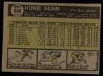 1961 Topps #346  Howie Nunn  Back Thumbnail