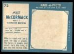 1961 Topps #72  Mike McCormack  Back Thumbnail