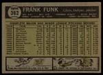 1961 Topps #362  Frank Funk  Back Thumbnail