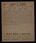 1939 Play Ball #14  Jim Tabor  Back Thumbnail