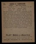 1939 Play Ball #73  Hal Schumacher  Back Thumbnail