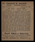 1939 Play Ball #93  Charley Gelbert  Back Thumbnail