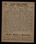 1939 Play Ball #98  Pinky Whitney  Back Thumbnail