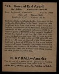 1939 Play Ball #143  Earl Averill  Back Thumbnail