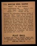 1940 Play Ball #113  Mort Cooper  Back Thumbnail