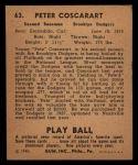 1940 Play Ball #63  Pete Coscarart  Back Thumbnail