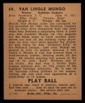 1940 Play Ball #64  Van Mungo  Back Thumbnail