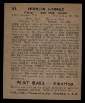 1939 Play Ball #48  Lefty Gomez  Back Thumbnail