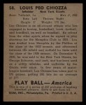 1939 Play Ball #58  Louis Chiozza  Back Thumbnail