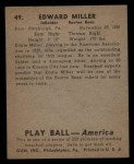 1939 Play Ball #49  Ed Miller  Back Thumbnail