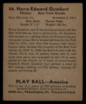 1939 Play Ball #54  Harry Gumbert  Back Thumbnail