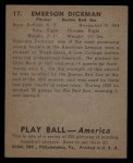 1939 Play Ball #17  Emerson Dickman  Back Thumbnail
