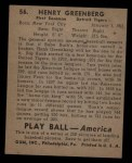1939 Play Ball #56  Hank Greenberg  Back Thumbnail
