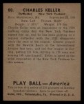 1939 Play Ball #88  Charlie Keller  Back Thumbnail
